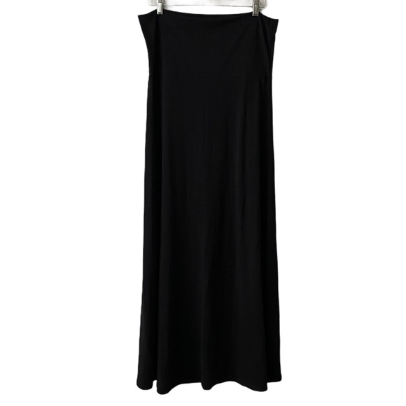 Hive & Honey Fold-Over Solid Black Maxi Skirt